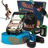 Premium Slackline Kit 60ft Longest Ever - Tree Protectors Ratchet Cover Strong Carry Bag - Slack Lines for Backyard…