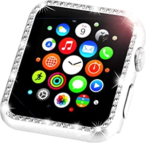 Leotop Compatible with Apple Watch Case Series 6 5 4 SE 40mm 44mm, Metal Bumper Protective Cover Bling Shiny Frame Rhinestone Glitter Diamond Compatible iWatch for Women Girls (Diamond Silver, 40mm)