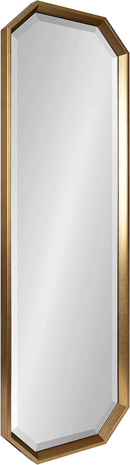 Kate and Laurel Calter Modern Full Length Framed Octagon Wall Mirror, 17.5 x 49.5, Gold, Decorative Glam Geometric Wall Accent