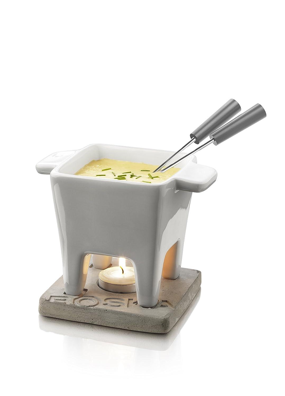 Boska Holland Tea light Fondue Set, for Cheese or Chocolate, Small White Porcelain Pot with Oak Wood Base, Tapas, Life Collection 340030