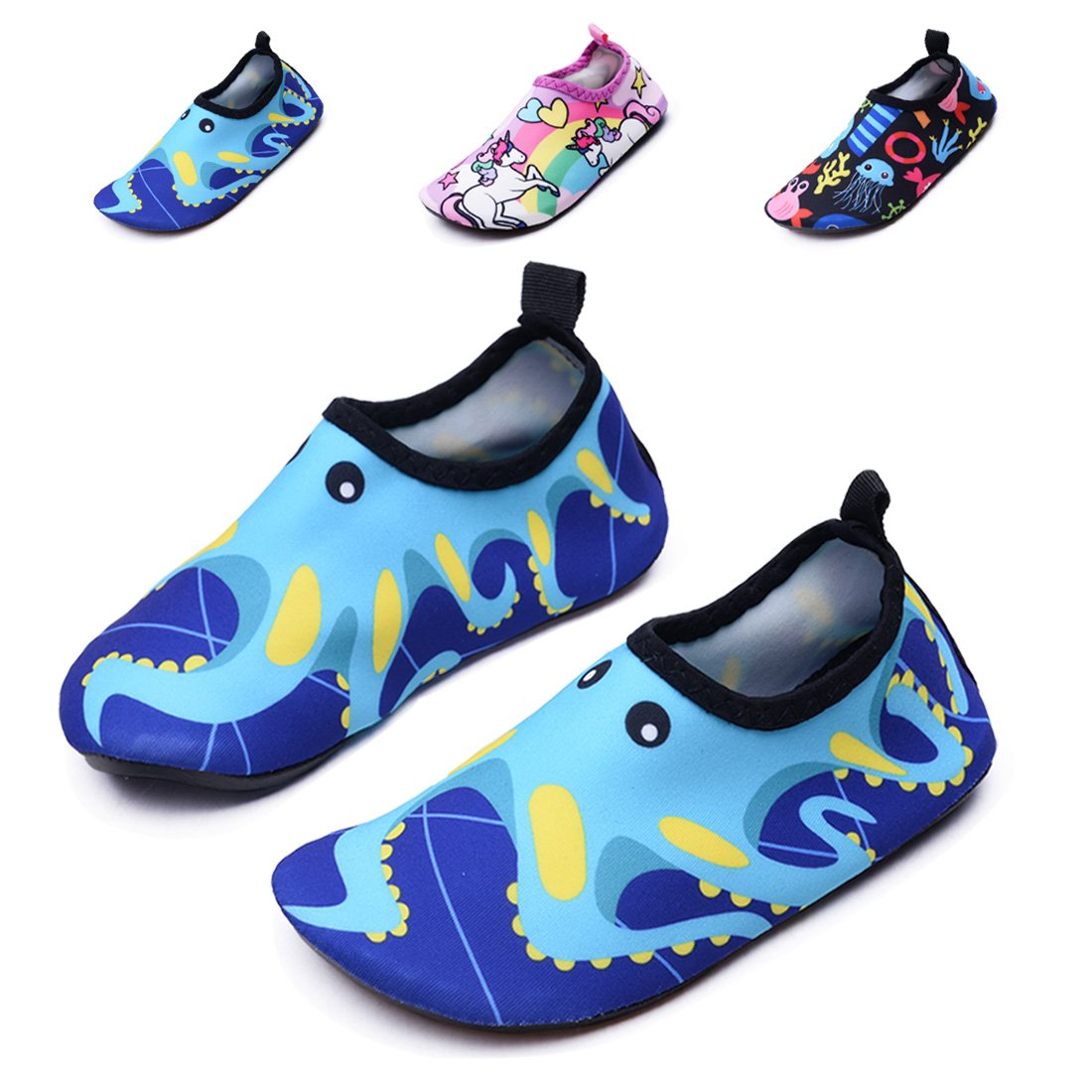 Lewhosy Kids Boys and Girls Swim Water Shoes Quick Drying Barefoot Aqua Socks Shoes for Beach Pool Surfing Yoga(26/Octopus Blue)