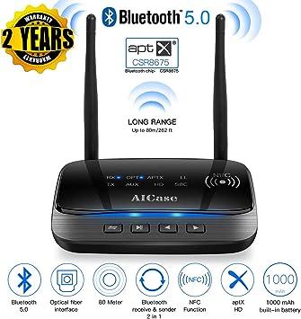 AICase Bluetooth 5.0 Transmisor Receptor,80M Amplio Rango 3 en 1 Adaptador de Audio Bluetooth para TV, estéreo, óptica Digital, AUX de 3,5 mm, aptX HD y aptX de Baja latencia, USB Recargable: