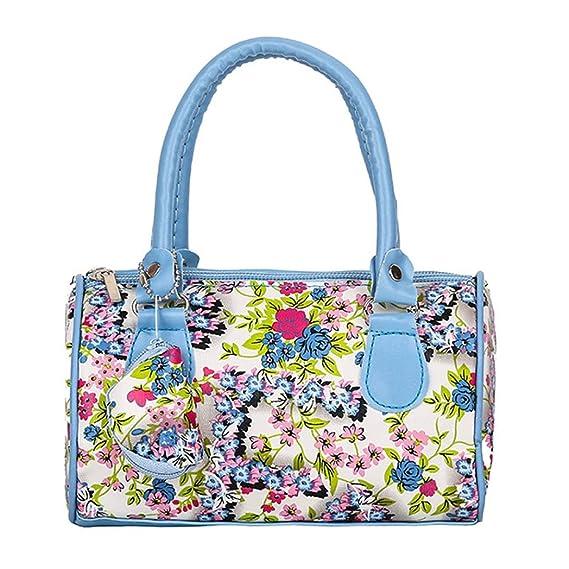 Longra☀ Bolso bordado bolso de las señoras del totalizador de la bolsa de hombro mismo tamaño Azul