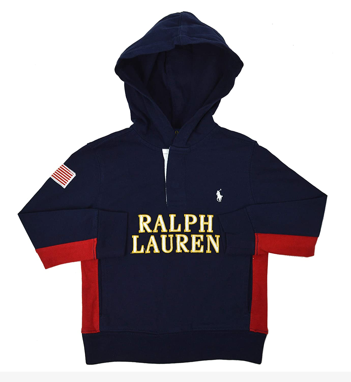 Polo Ralph Lauren Boys Toddlers Long Sleeve Hooded Rugby Polo Shirt Navy Blue