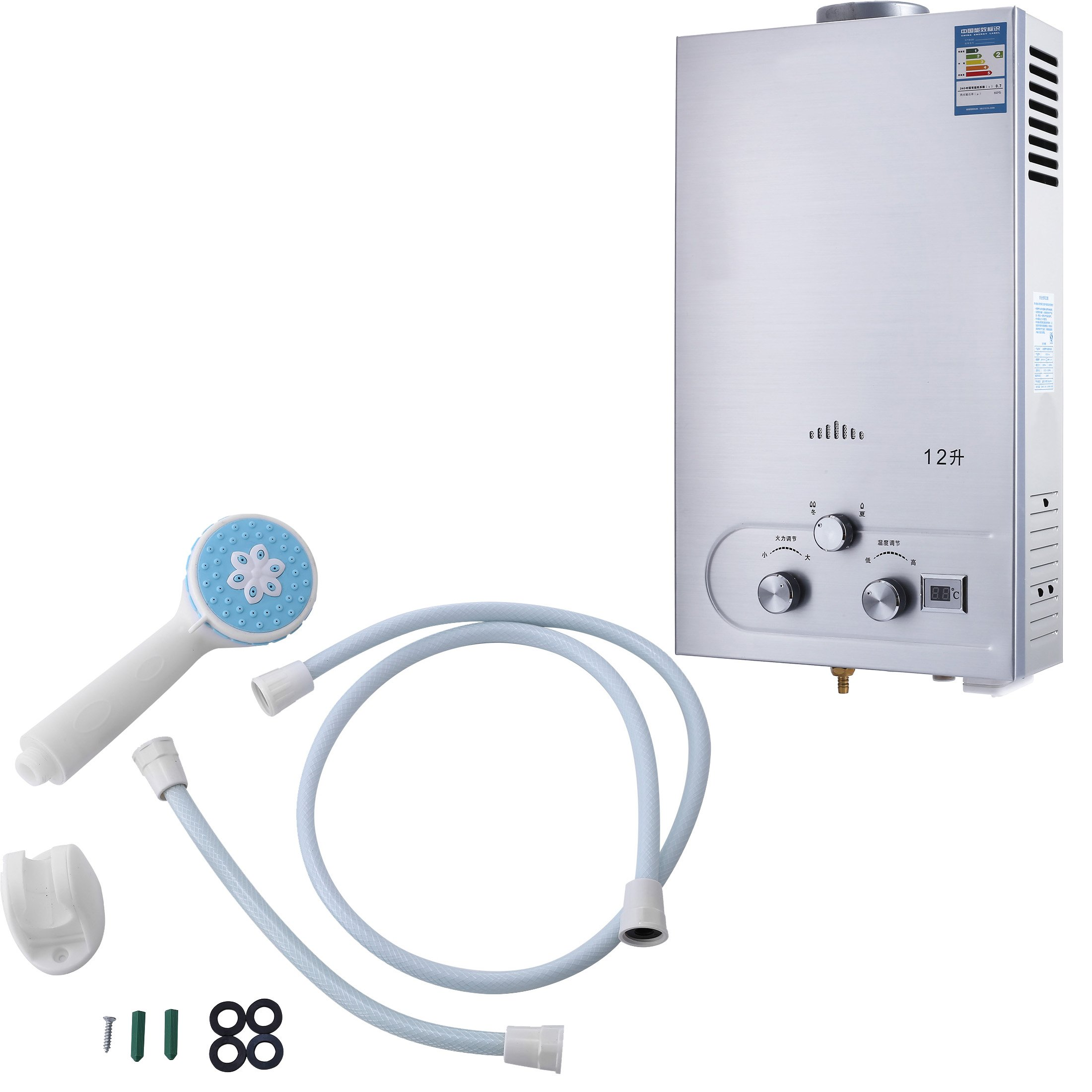 VEVOR Hot Water Heater 12L Liquefied Natural Gas Water Heater Tankless Instant Boiler with Shower Head