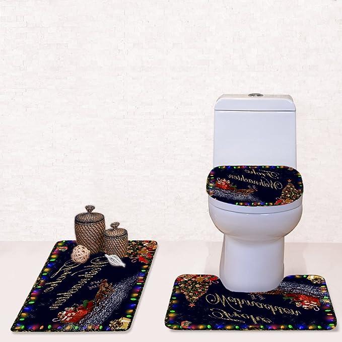 3PCS Christmas Toilet Seat Cover Rug Christmas Tree Deer Bathroom Mat Xmas Decor