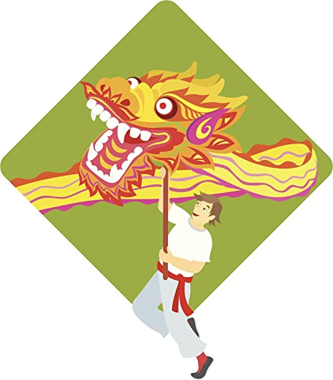 chinese new year dragon performer cartoon vinyl decal sticker 2 4