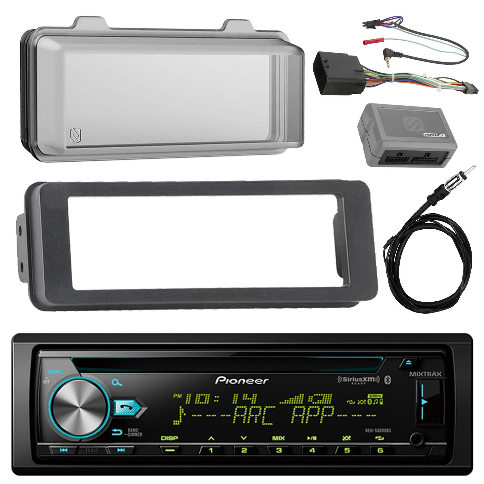Pioneer DEH-X6900BT Stereo CD Receiver Radio - Bundle with Installation Dash Kit + Handle Bar Control Module + Weathershield Cover + Enrock Wire Antenna for 1998 2013 Harley Touring Motorcycle Bikes