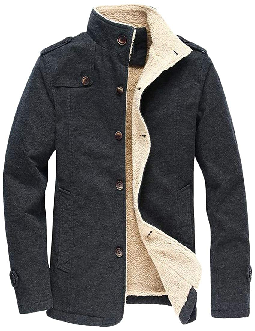 Sweatwater Mens Single Breasted Fleece Warm Stand Collar Winter Parka Jacket Coat
