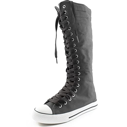 Women's Canvas Mid Calf Tall Boots Casual Sneaker Punk Flat Classic Black