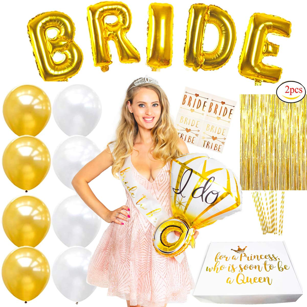 Premium Gold Bachelorette Party Decorations Bridal Shower Supplies Kit - for Classy Bride-To-Be - Tiara, Sash, Diamond Ring Balloon, Fringe Curtains, BRIDE Balloons, Latex Balloons, Tattoos, Straws