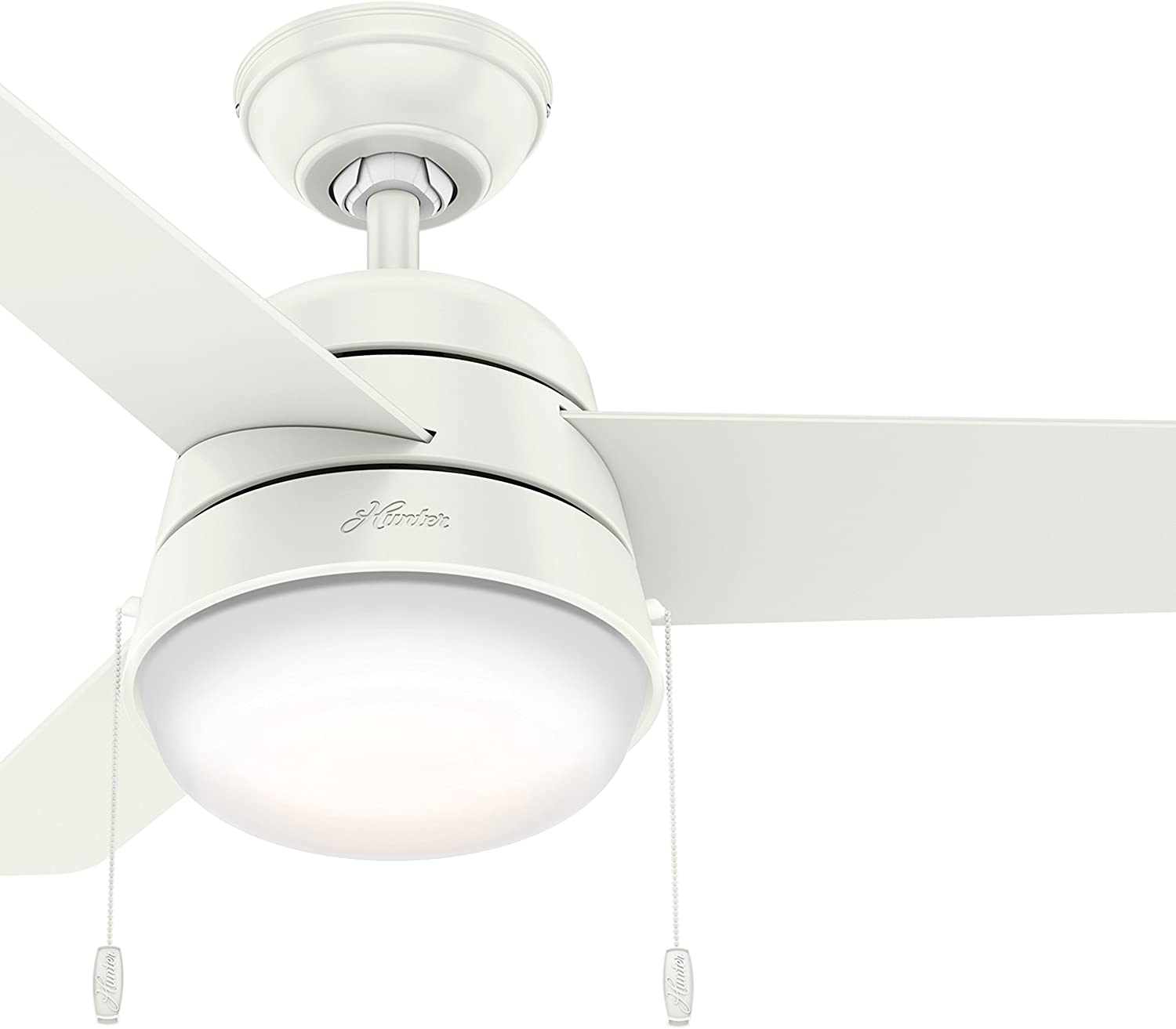 Hunter Fan 36 inch Ceiling Fan in Fresh White with Integrated LED Light Kit Renewed Fresh White