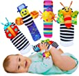 Babycheeks Baby Wrist Rattle & Foot Finder Socks - Infant Developmental Sensory Learning Toys for Boys and Girls from 0-3-6 Months Old - Cute Garden Bug Edition 4 Items Piece Set