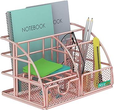 Office Multi-Use Metal Desktop Organizer Rose Gold Desk Organizer with Drawer