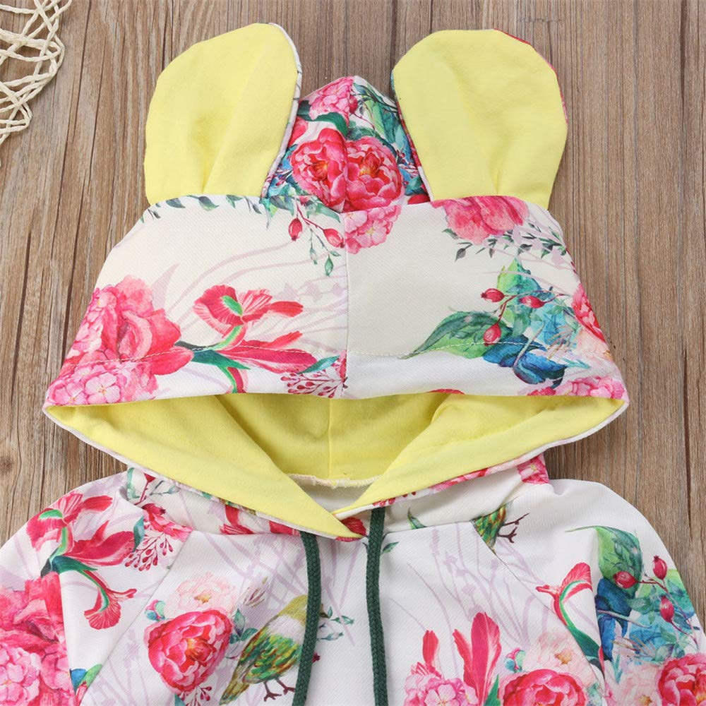 2Pcs//Set Newborn Baby Girls Hooded Floral Tops+Long Pants Outfits Clothes 0-24M