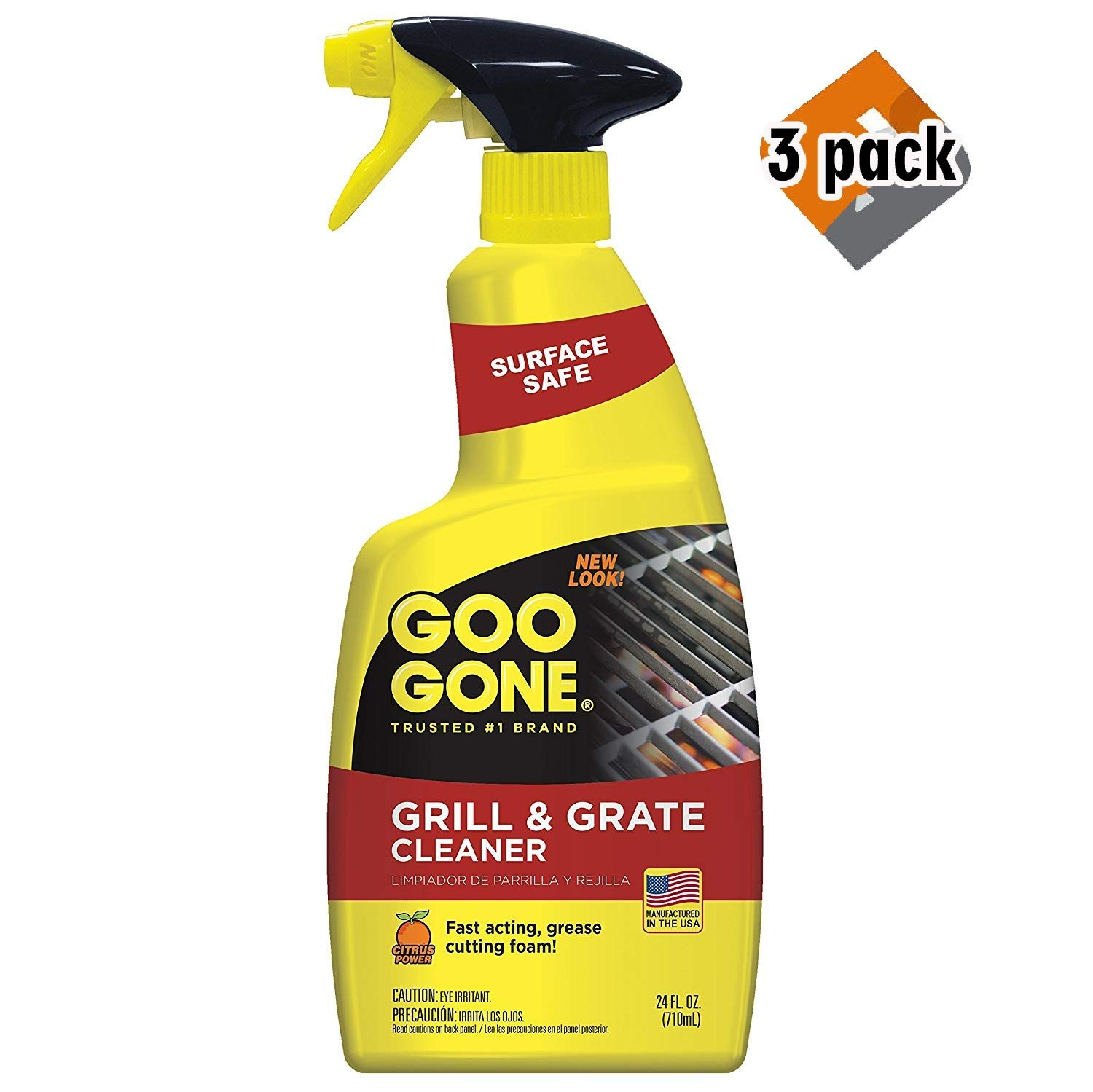 Goo Gone Grill and Grate Cleaner - 24 Ounce - Cleans Cooking Grates and Racks - 3 Pack by Goo Gone