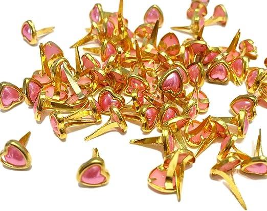 Mini corazón Brads para manualidades & Scrapbooking oro con rosa perla centro Brads 6 mm Pack de 100: Amazon.es: Hogar