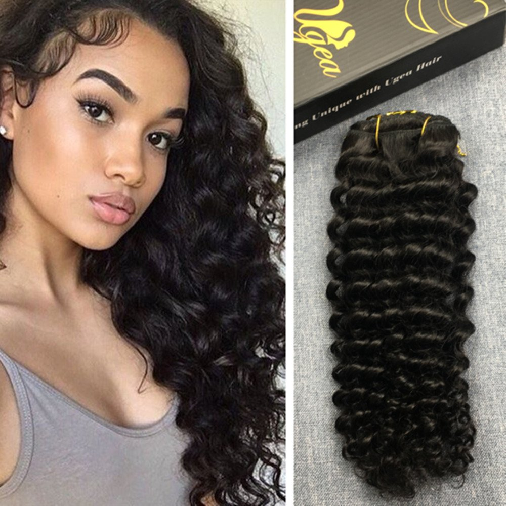 Ugeat 16inch 7pcs Clip in Remy Human Hair Extensions #1B Off Black Kinky Straight Clip Hair Natural Human Hair Extensions for Africa American Women 120g Weihai Ugeat Hair