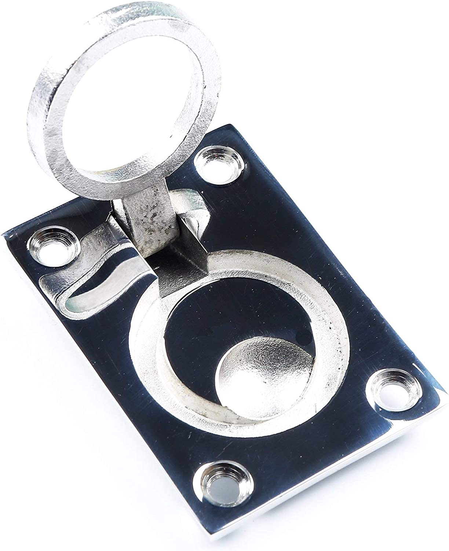 MxEol Boat Recessed Hatch Pull Handle Marine Locker Flush Lift Ring Stainless Steel Size 1-1/2 W/ Screws: Clothing