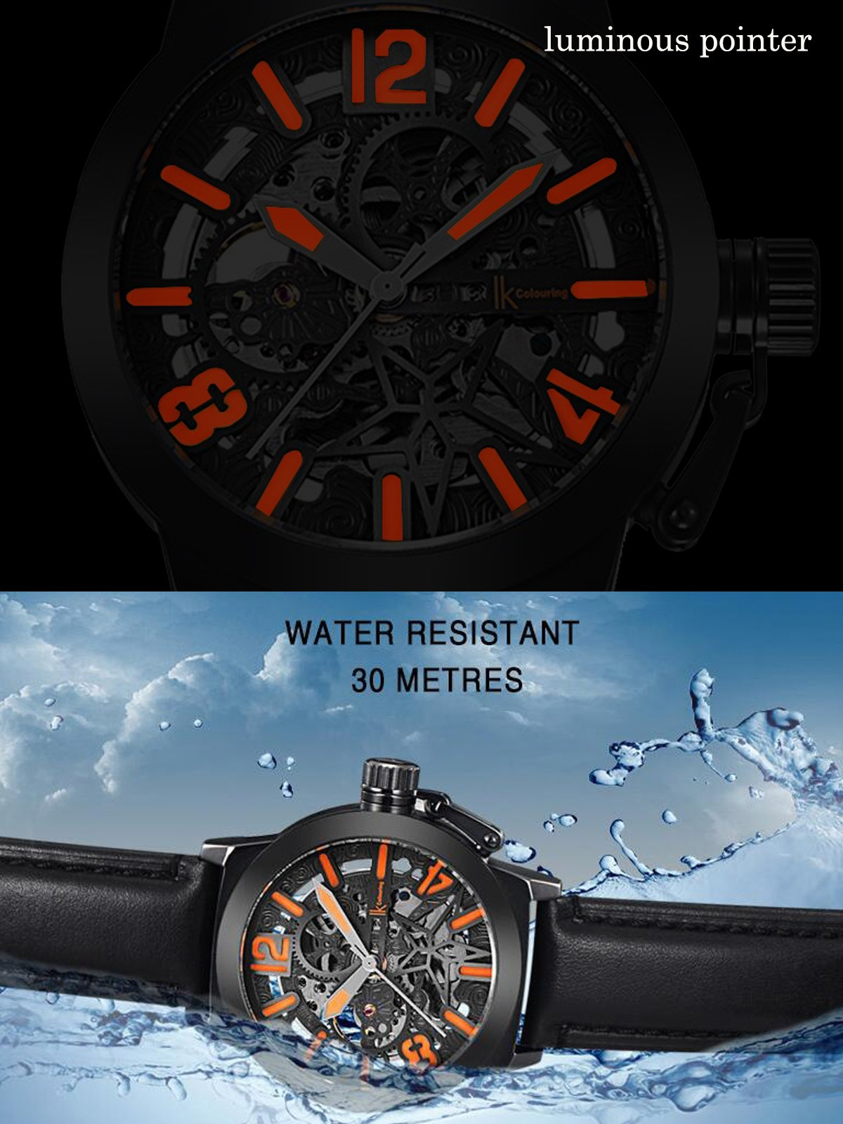 Gute Mechanical Men Automatic Watch, Motion Style Tone Self Winding Genuine Black Leather Band Watch by GLEIM (Image #5)