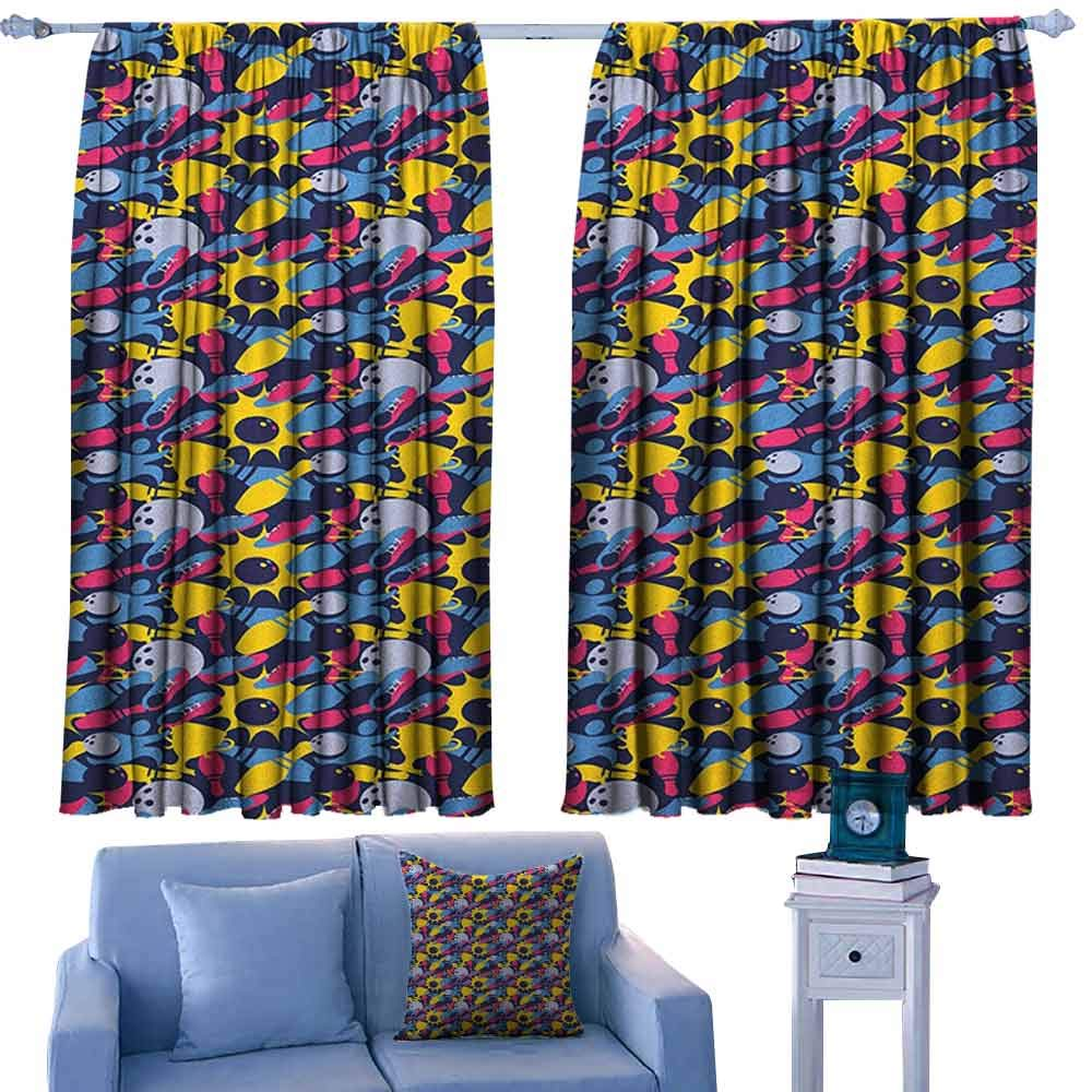 ParadiseDecor Bowling Nursery/Baby Care Curtains Different Colored Hobby Sport Elements on Dark Blue Championship Victory Theme,Indo Treatment Panes,W52 x L95 Inch by ParadiseDecor
