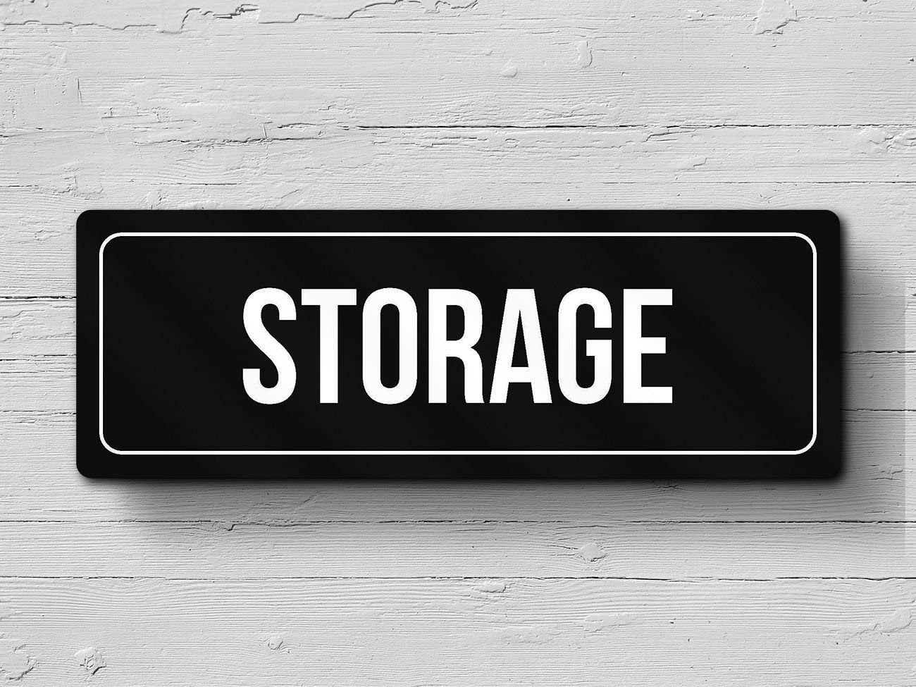 iCandy Combat Black Background with Silver Font Storage Office Business Retail Outdoor /& Indoor Plastic Wall Sign 4 Pack 3x9 Inch