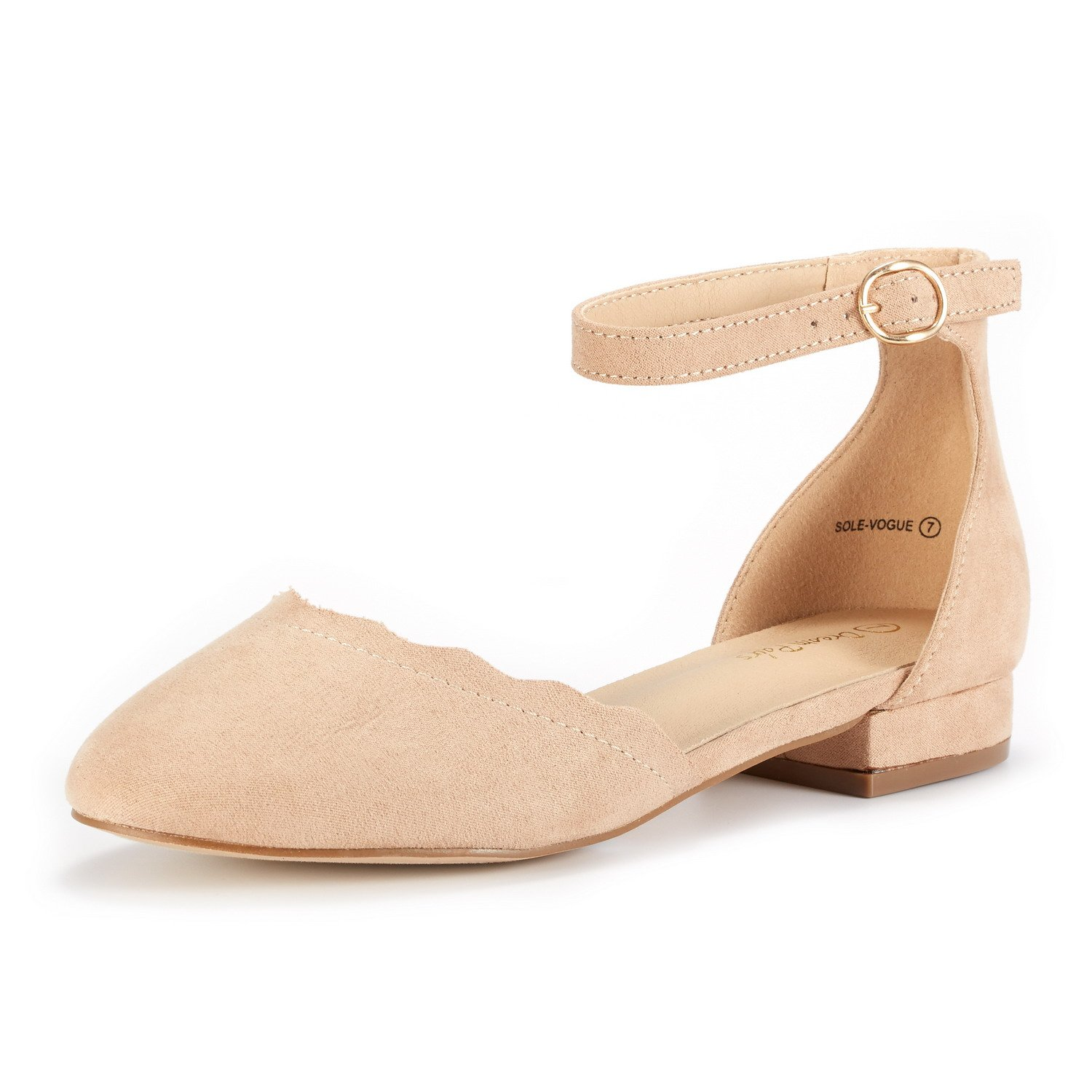 DREAM PAIRS Women's Sole_Vogue Nude Fashion Low Stacked Ankle Straps Flats Shoes Size 8 M US