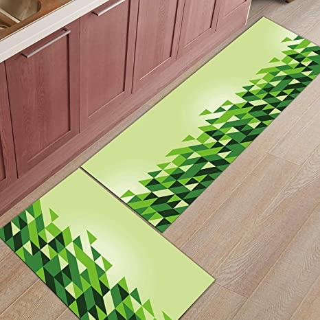Genial Kitchen Rugs Sets 2 Piece Kitchen Floor Mats Non Slip Rubber Backing Area  Rugs Green