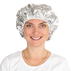 Aluminum Foil Processing Caps for Hair Coloring and Treatments - Pack of 12 - Disposable Deep Conditioning Hair Cap – Natural Heating Cap (Silver, 12 Pack)