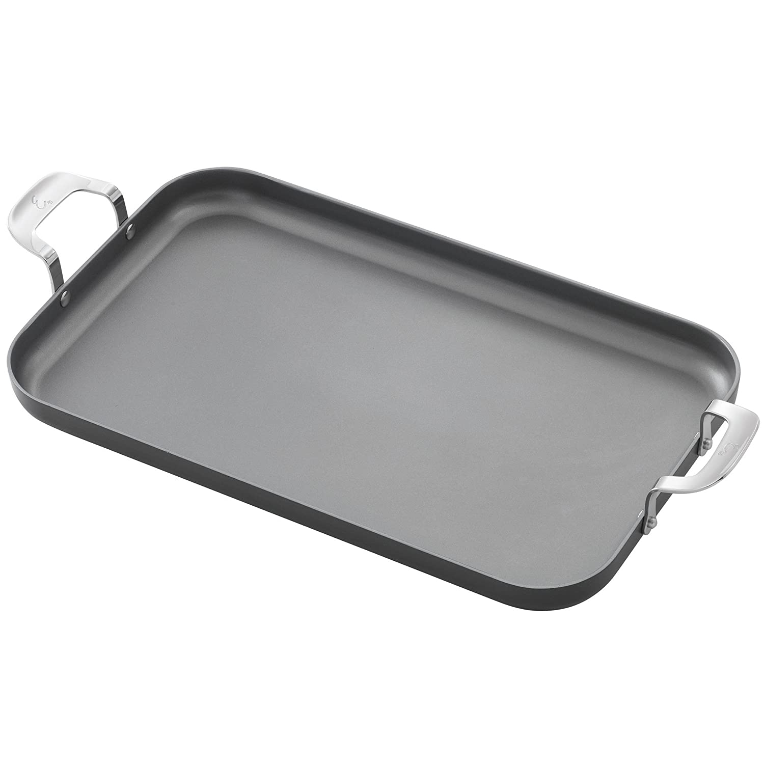 "Emeril Lagasse 62929 Dishwasher safe Nonstick Hard Anodized Double Burner Griddle, 11""x18"" ,Gray"