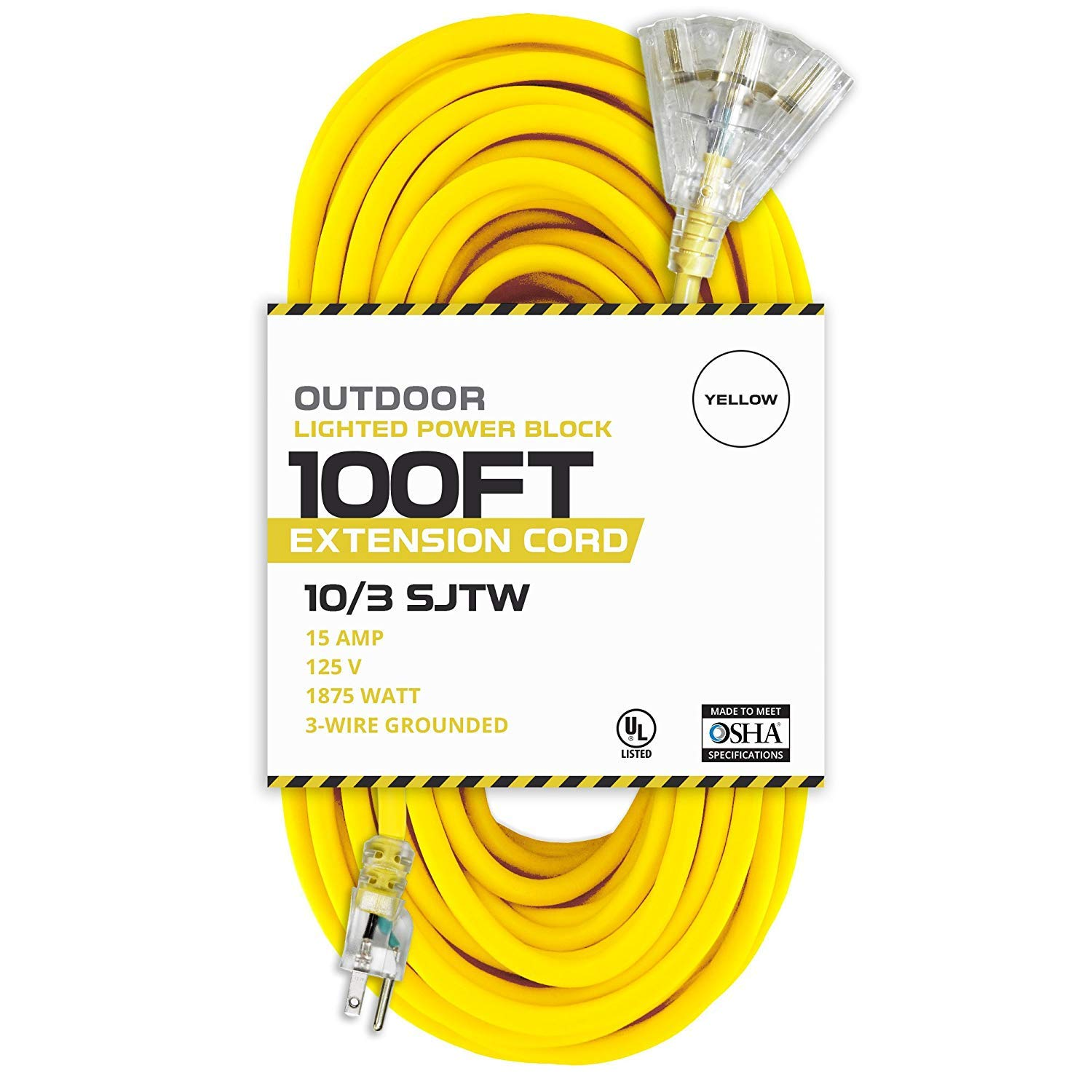 100 Foot Lighted Outdoor Extension Cord with 3 Electrical Power Outlets - 10/3 SJTW Yellow 10 Gauge Extension Cable with 3 Prong Grounded Plug for Safety