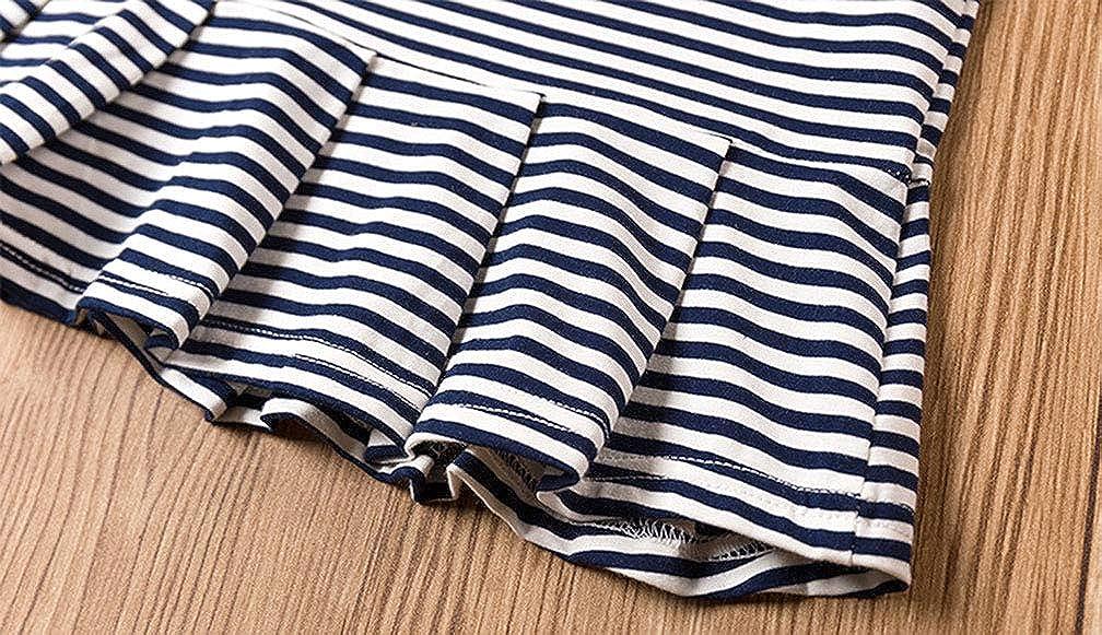 AIKSSOO Baby Girls Short Sleeve Shirt Dress Casual Strip Dress Pleated Swing Dress