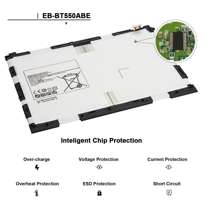3.8V 22.8Wh 6000mAh EB-BT550ABE bater/ía del ordenador port/átil para Samsung Galaxy Tab A 9.7 T550 T555 T555C P550 P555C Tablet