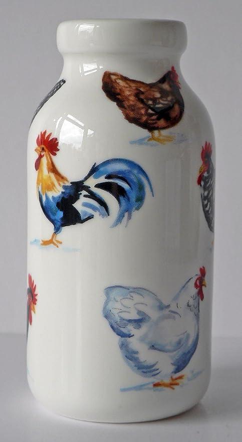 Pollo Hut botella de leche de cerámica decorada todos los redondo con colorido pollos, las