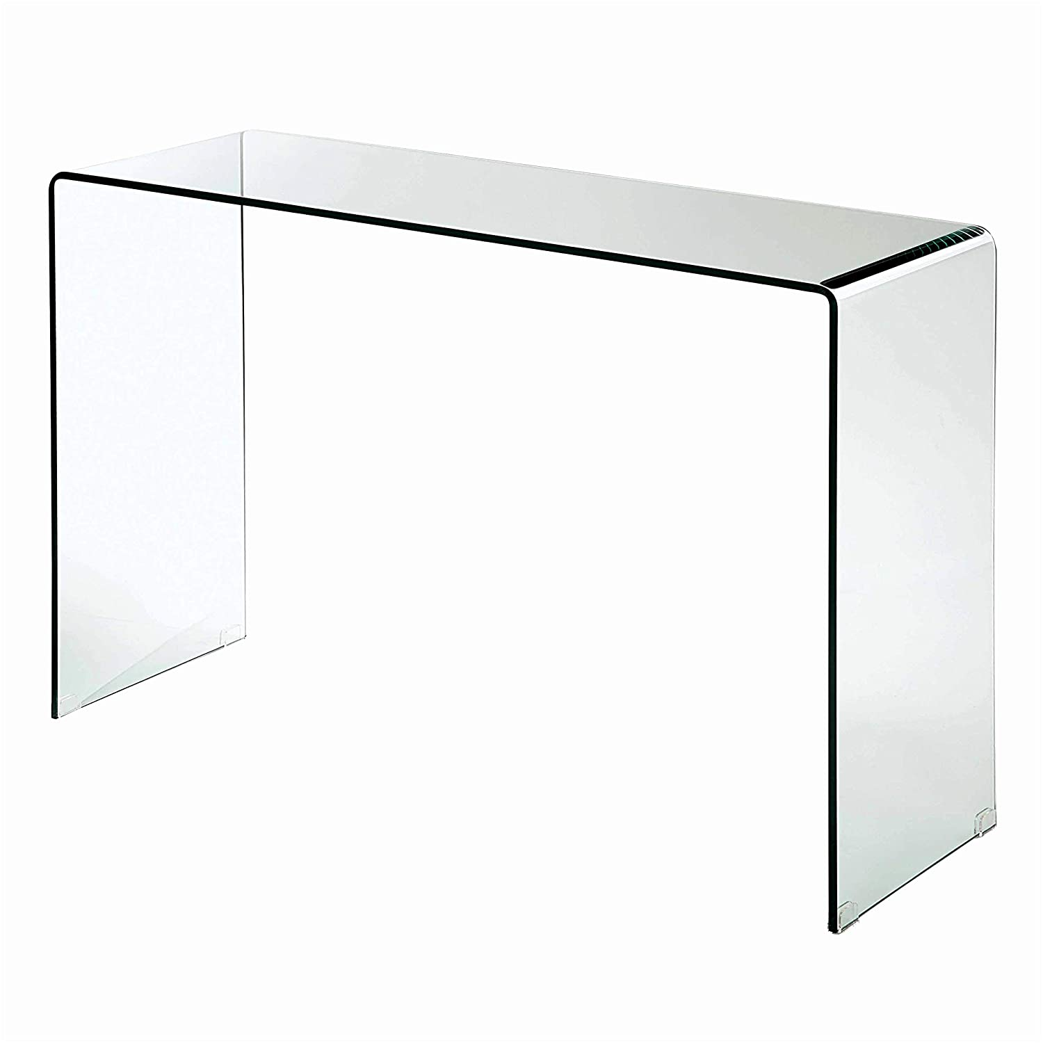 Meubles House Bay-Modern Waterall Glass Console Table, Clear CB-003