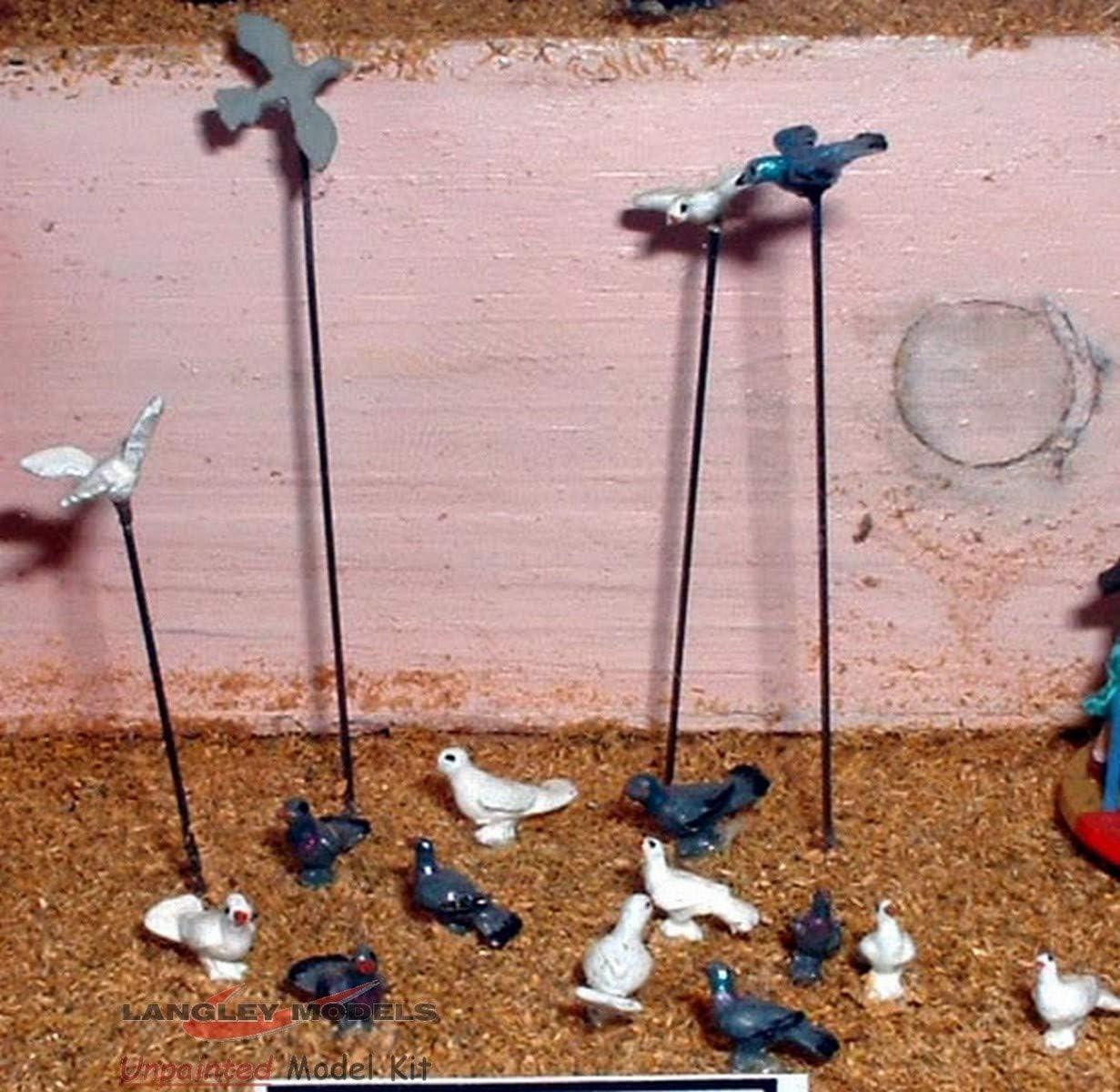 10 Doves pigeons OO Scale 1:76 UNPAINTED Metal Model Kit F148 Langley Models