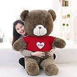 "MorisMos Giant Teddy Bear with Love heart Sweater Plush Stuffed Animals 39"" / 1M Dark Brown Valentine's Day Gift"