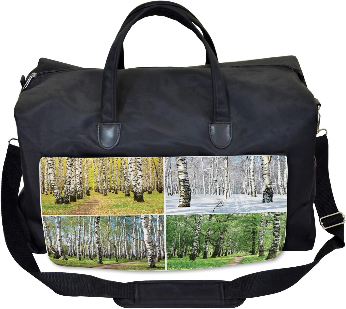 Fall Winter Birch Tree Ambesonne Forest Gym Bag Large Weekender Carry-on