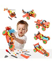 Kidsidol 5-in-1 Build and Play STEM Toys 123 Pcs Educational DIY Building Kit Engineering Construction Building Blocks Creative Learning Toys for Kids Above 5 Years