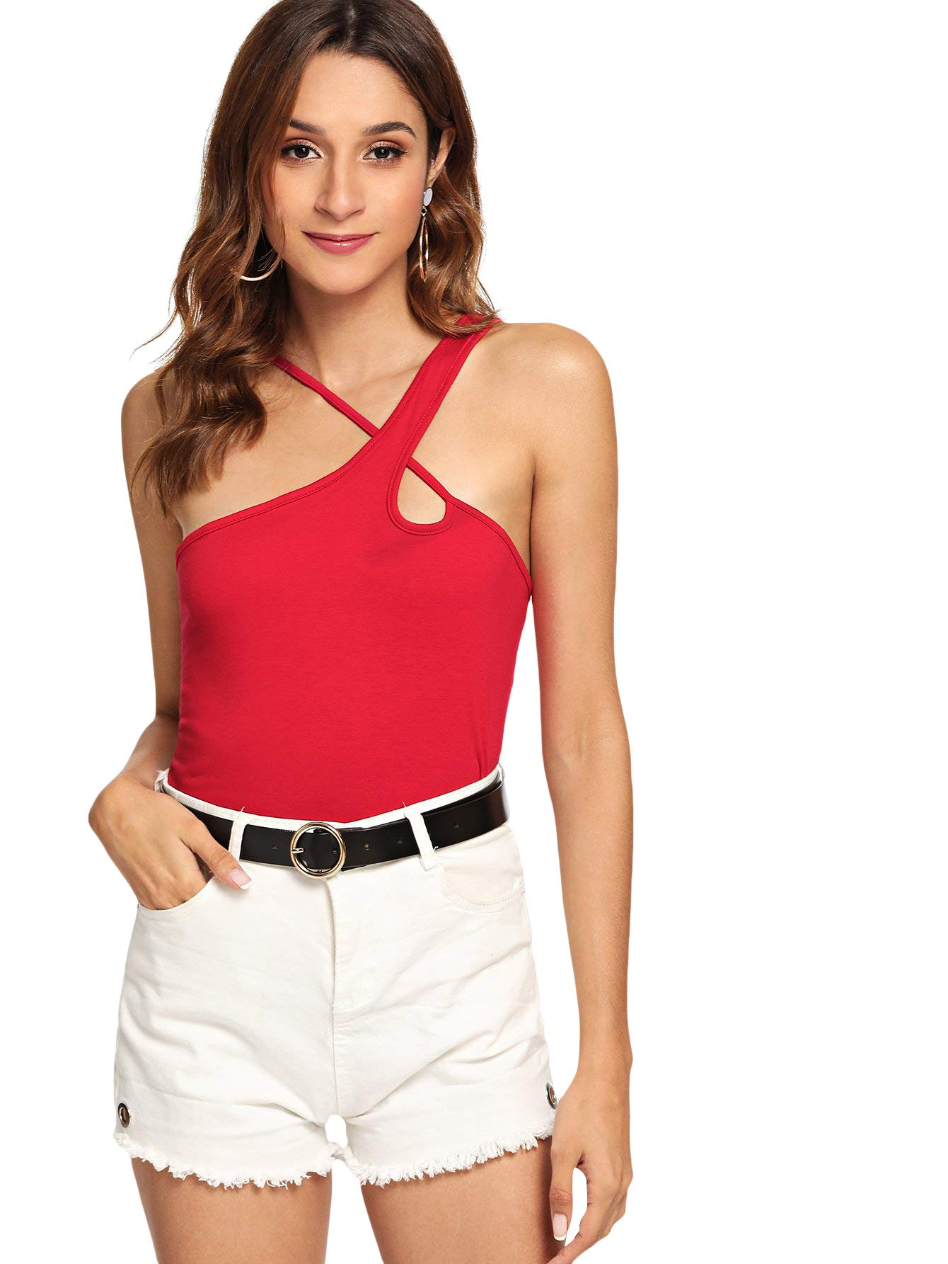 MakeMeChic Women's Summer Sexy Cut Out One Shoulder Strappy Cami Tank Top Red M