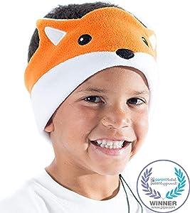 CozyPhones Kids Headphones Volume Limited with Thin Speakers & Super Soft Fleece Headband - Perfect Toddlers & Children's Earphones for Home, School & Travel - Fox