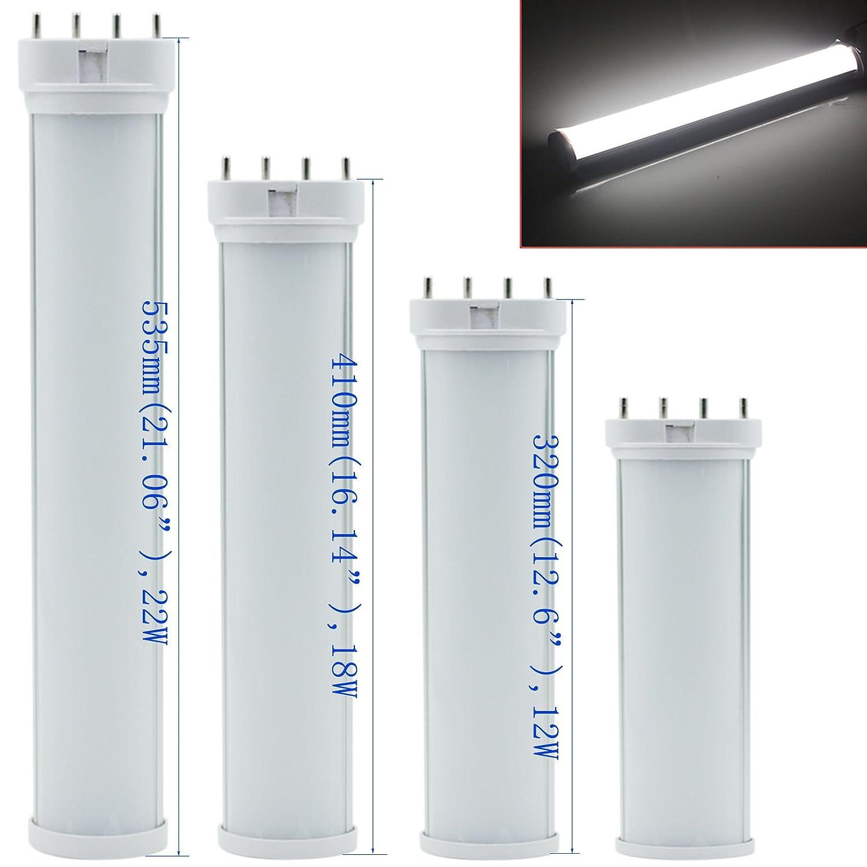 byopto 1pcs 2 G11 4 pin Base bombilla LED 4000 K blanco natural 85 - 265 V AC luz horizontal Plug fluorescente equivalente, no regulable, 2g11, 22.00 wattsW ...