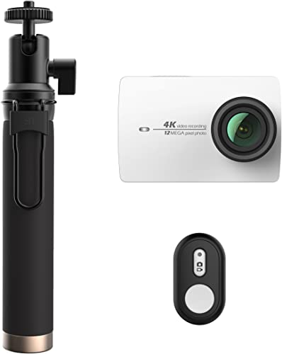 YI 4K Action and Sports Camera Selfie Stick Bundle, 4K 30fps Video 12MP Raw Image with EIS, Live Stream, Voice Control – White