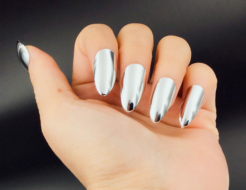 Amazon.com : YUNAI Silver Mirror Effect Fake Nails Silver Metallic Punk False Nails Stilleto Nail Tips : Beauty