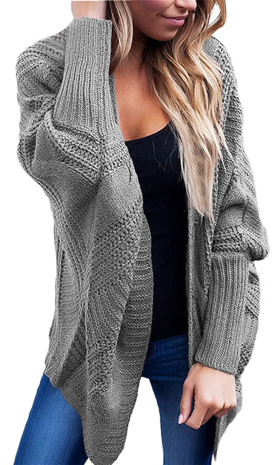 Batwing Dolman Sleeve Cable Stitch Longline Chunky Cardigan Sweater Coat Top In Cocoon Shape