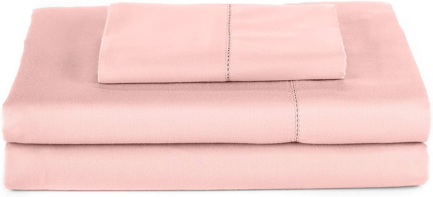 Elite Home Products Hemstitch 400 Thread Count Cotton Sateen Weave Solid Color Bed Sheet Set Blush Queen French Country, Casual, Shabby Chic