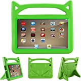 All-New F i r e HD 8 Kids Case - Riaour Light Weight Shock Proof Handle Friendly Stand Kid-Proof Case for All New A m a z o n F i r e 8 inch Display Tablet Cover(2016&2017 Release) (Green)