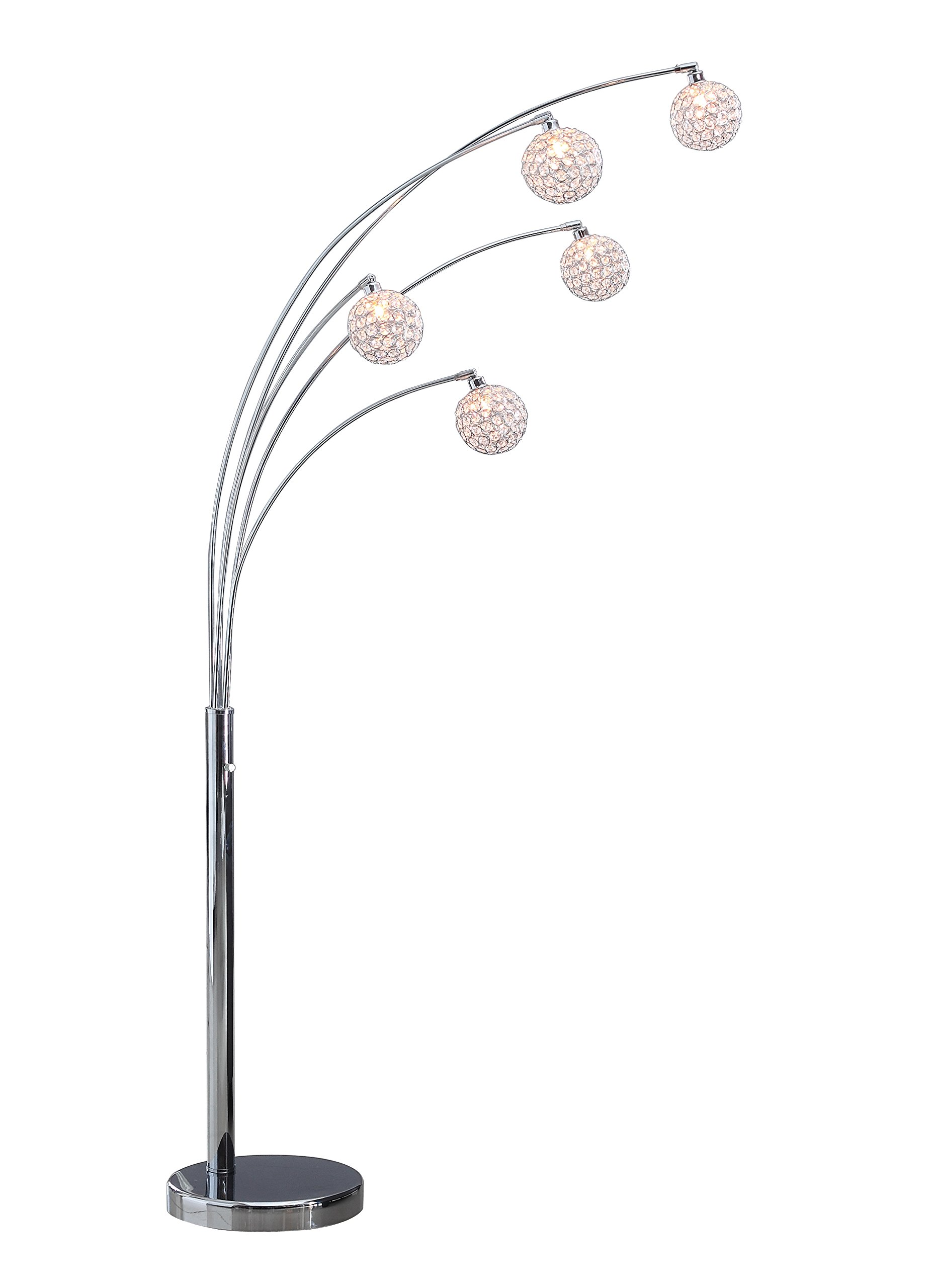 Artiva USA A511118FSN Manhattan Modern Crystal Floor Lamp, 84''H, Chrome by Artiva USA