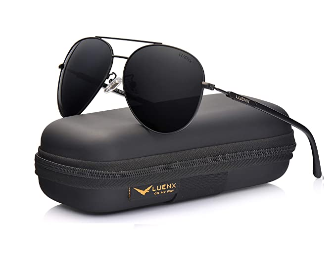 6a22fdc875 LUENX Mens Sunglasses Polarized Womens with Case - UV 400 Protection Black  Lens Black Frame 60mm  Amazon.co.uk  Clothing
