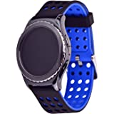 Greatfine 20mm silicone alta qualità cinturino dell'orologio per Samsung Galaxy Gear S2 Classic SM-R7320 / Motorola Moto 360 2 42mm Smart Watch / Huawei Watch 2 (Black Blue)